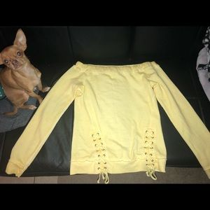 Yellow long sleeve off the shoulder top